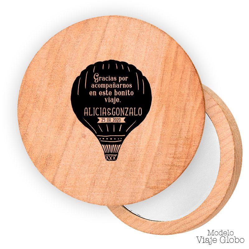 Espejo de madera personalizado. 7cm. Modelo viaje en globo