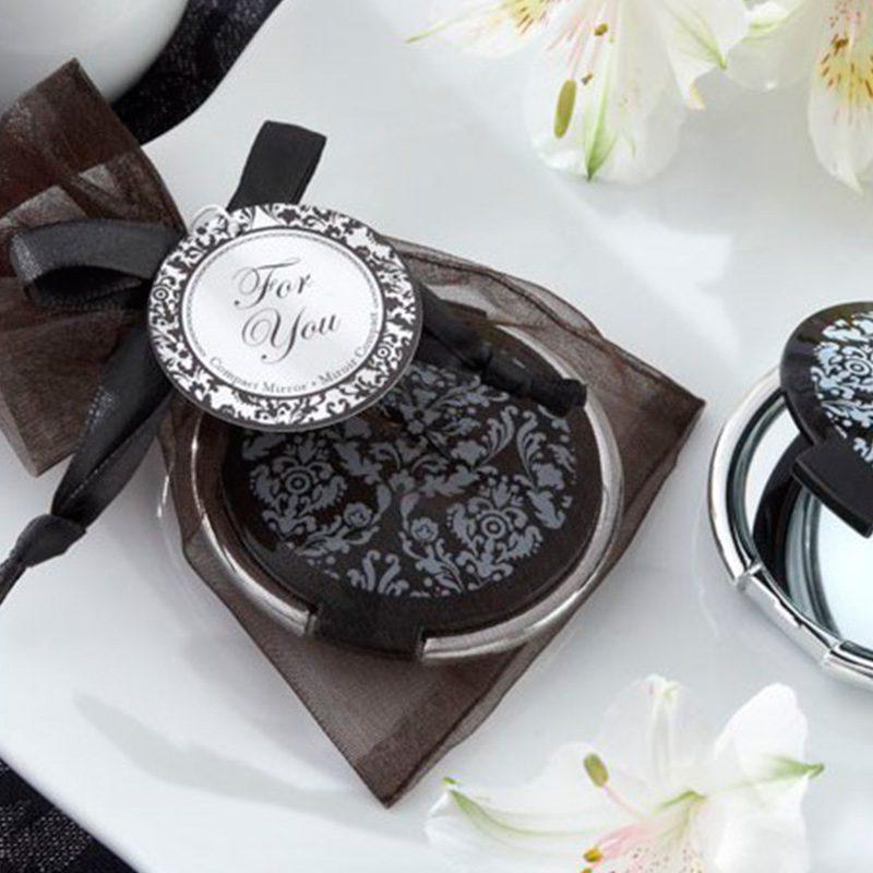 Ultimos regalos para invitados añadidos espejo para boda con bolsa de organza a juego 6 5cm