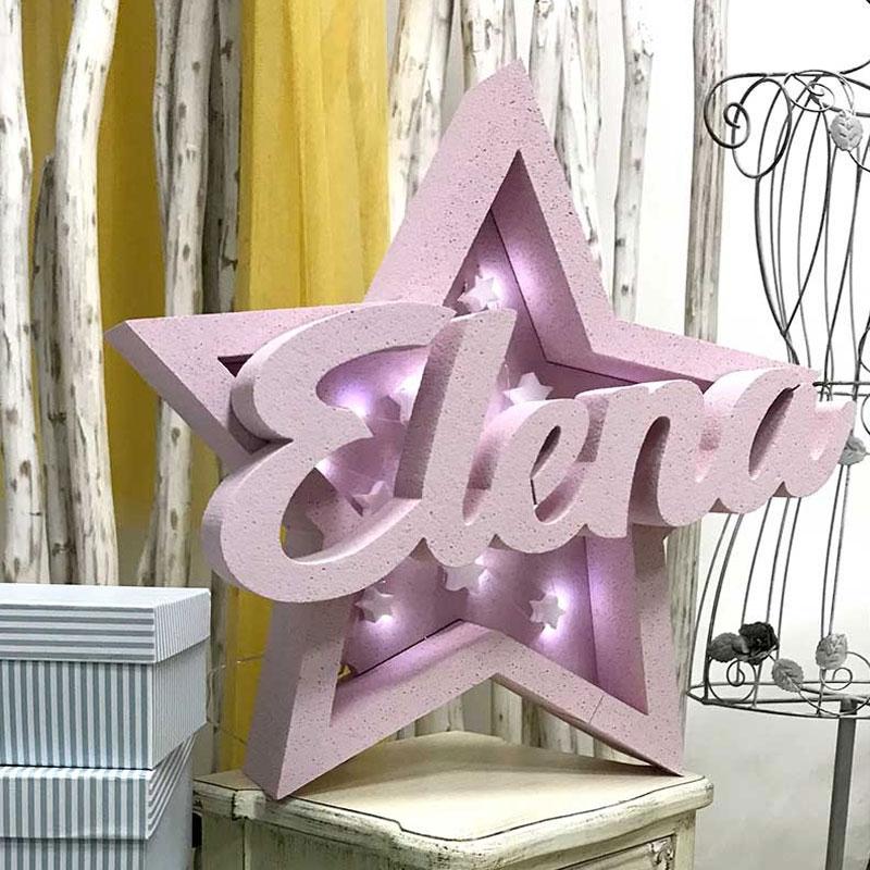 Corcho cajón de luz en forma de estrella. Personalizado.