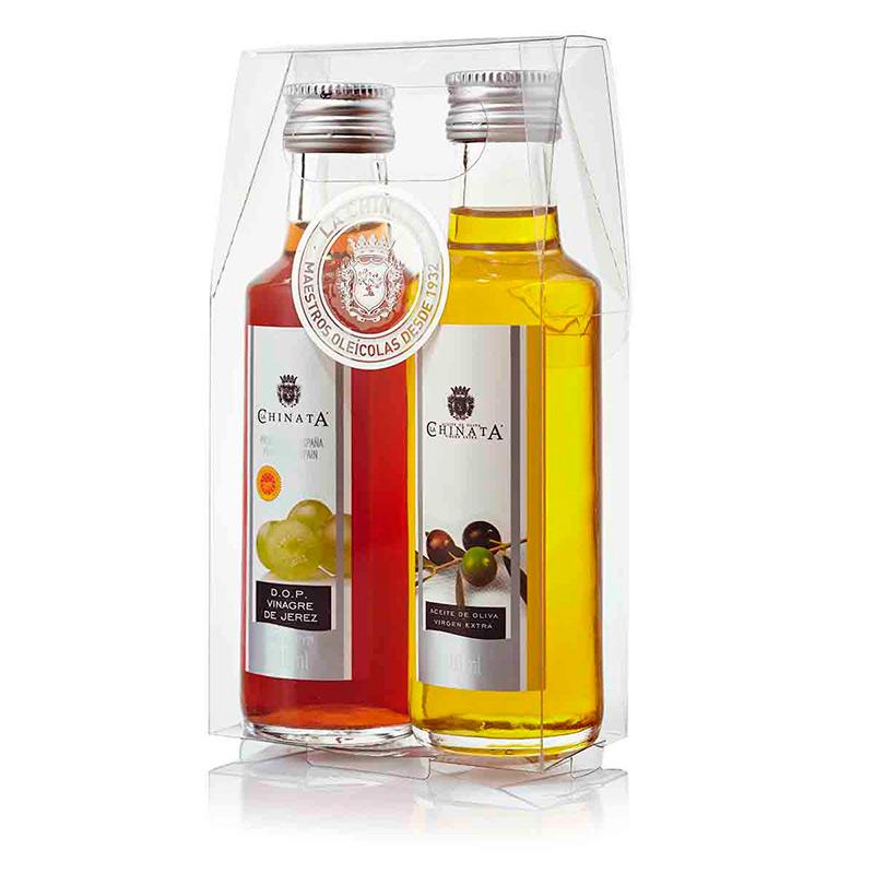 Pack aceite y vinagre + caja transparente. 100ml