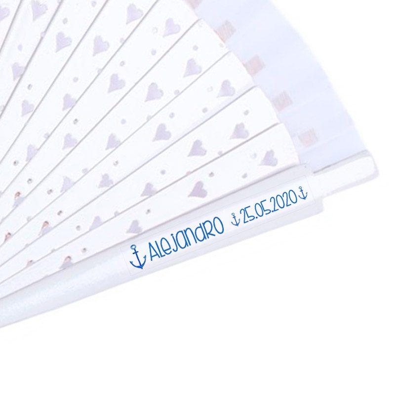 Etiqueta transparente para abanicos de comunión. Modelo Ancla