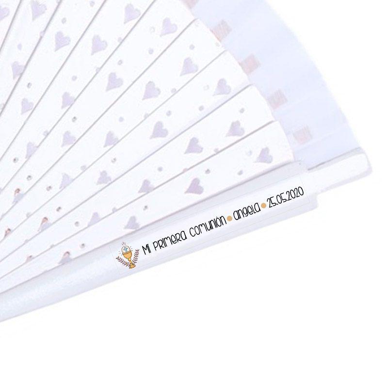 Etiqueta transparente para abanicos de comunión. Modelo Caliz
