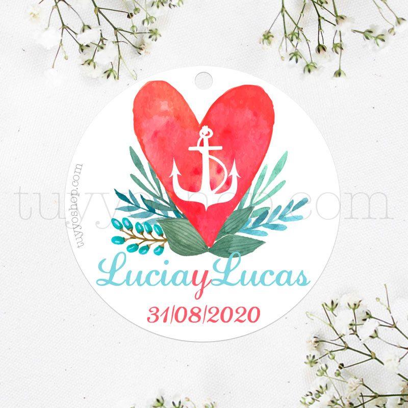Bonita etiqueta para boda con diseño ancla y corazón