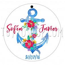 etiqueta para boda diseño ancla floral