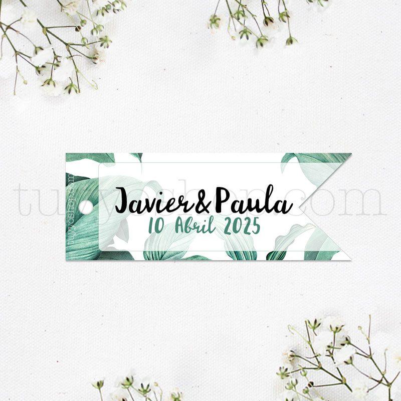 Etiqueta para boda, estilo banderola. Modelo tropic. 8x3cm etiqueta banderola tropical