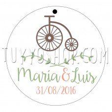 etiqueta para boda bicicleta vintage