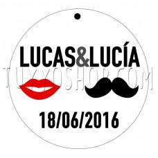etiqueta para boda bigote y labios