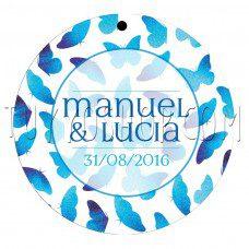 etiqueta para boda diseño blue butterfly