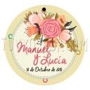 etiqueta boda diseño bouquet