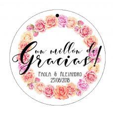 etiqueta de boda, modelo círculo de rosas