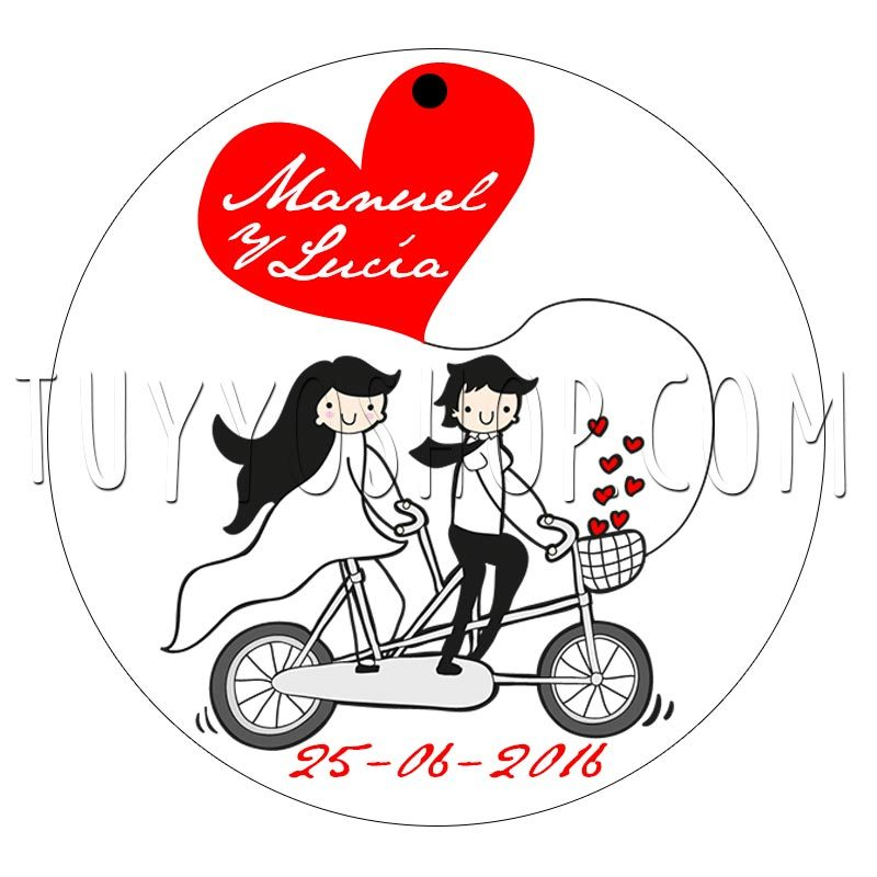 etiqueta para boda couple bike