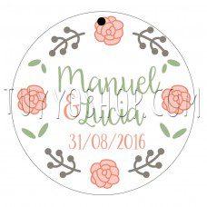 etiqueta para boda cuatro rosas