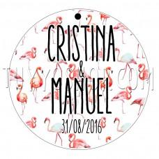 etiqueta para boda flamencos