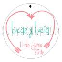 Etiqueta para boda diseño flechas corazon