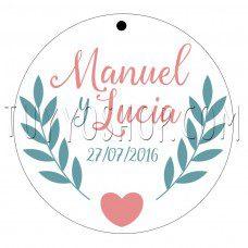 etiqueta boda ramita y corazón