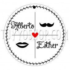 etiqueta boda kiss moustache