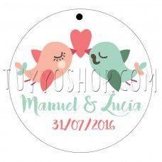 etiqueta para boda love birds