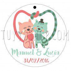 etiqueta para boda love cats