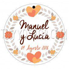etiqueta para boda orange heart