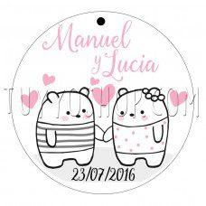 etiqueta para boda diseño ositos