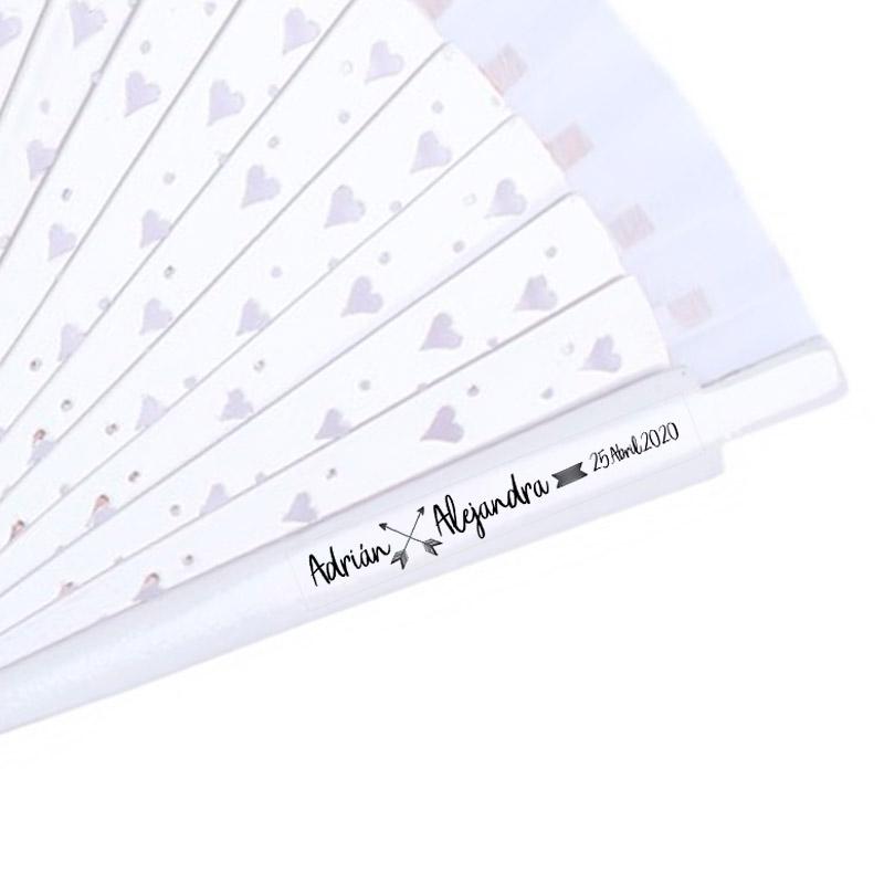Etiqueta transparente para abanicos. Modelo Flechas
