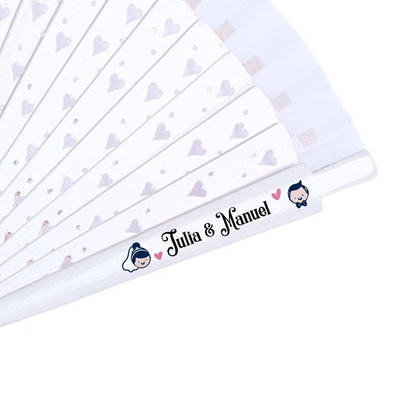 Etiqueta transparente para abanicos. Modelo Pareja