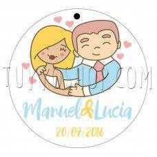 etiqueta para boda diseño pareja feliz