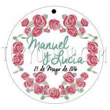 etiqueta para boda rosas