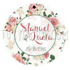 etiqueta para regalos de boda vintage floral