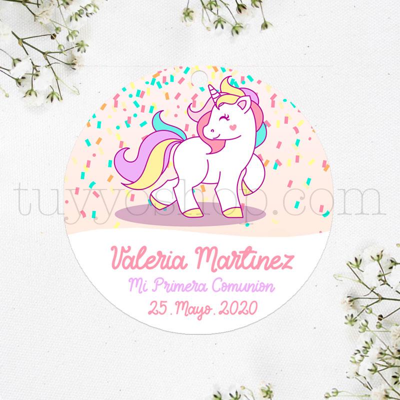 Etiquetas de comunión diseño Unicornio y confeti