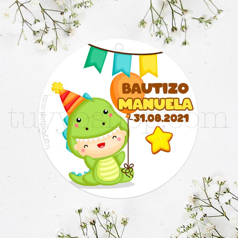 Etiqueta de bautizo, bebé dinosaurio