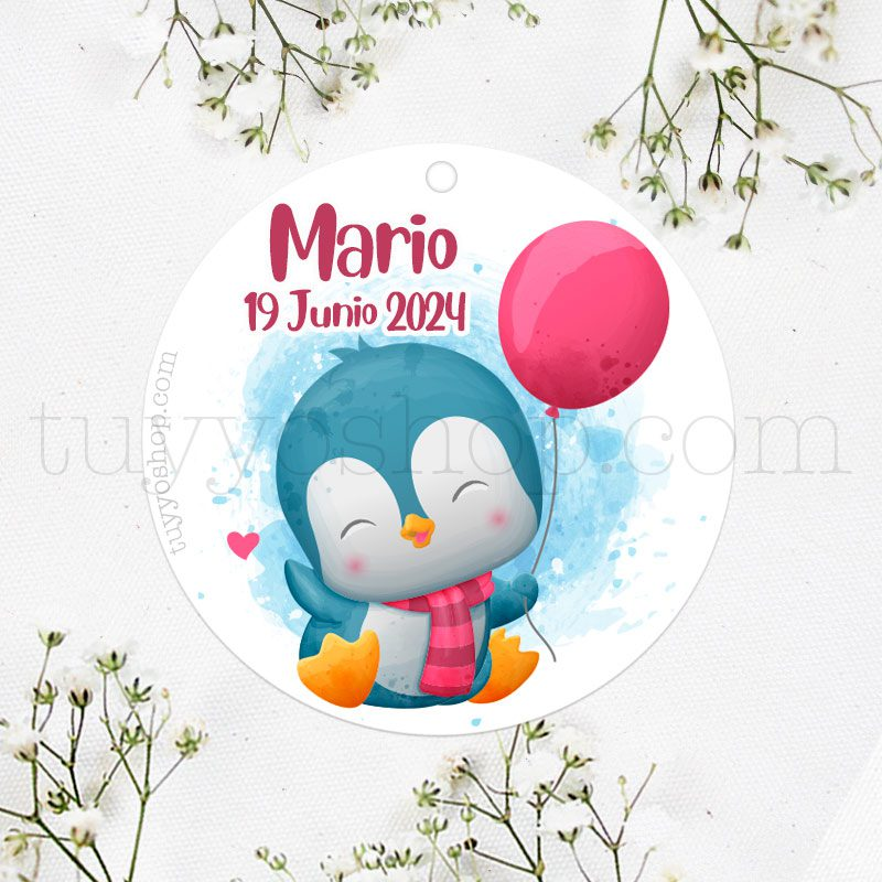 Etiqueta de bautizo, bebé Pingüino