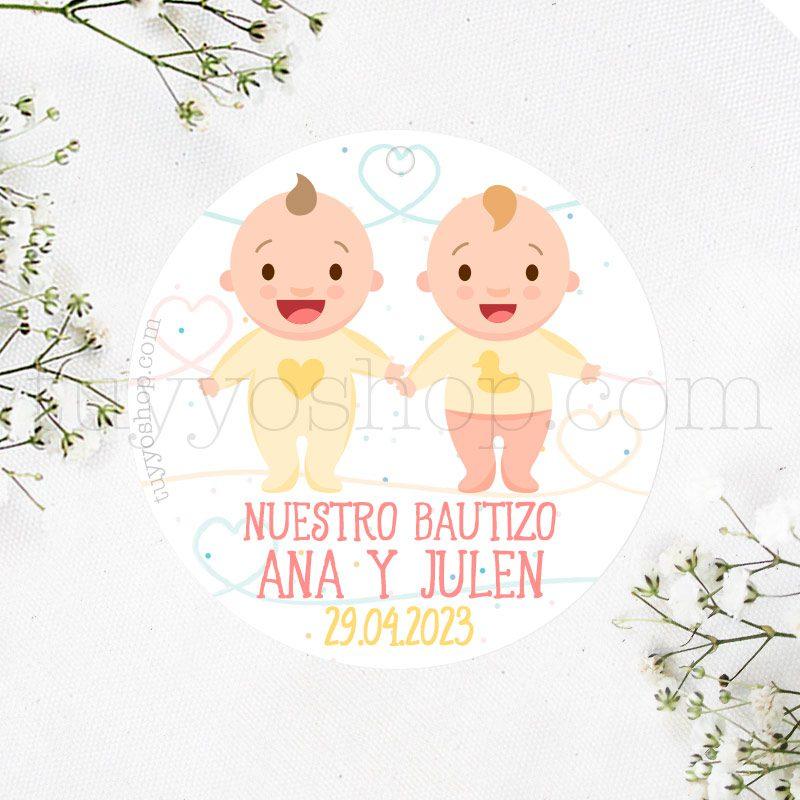 Etiqueta de bautizo Bebés Mellizos