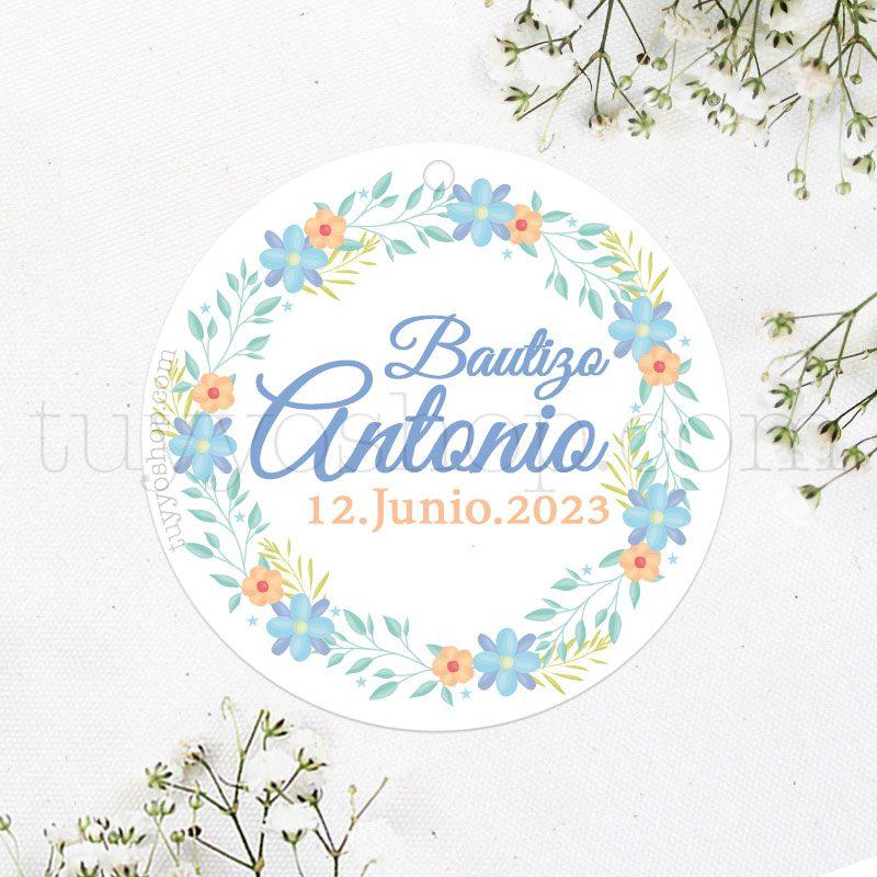 Etiqueta de bautizo Corona floral Azul