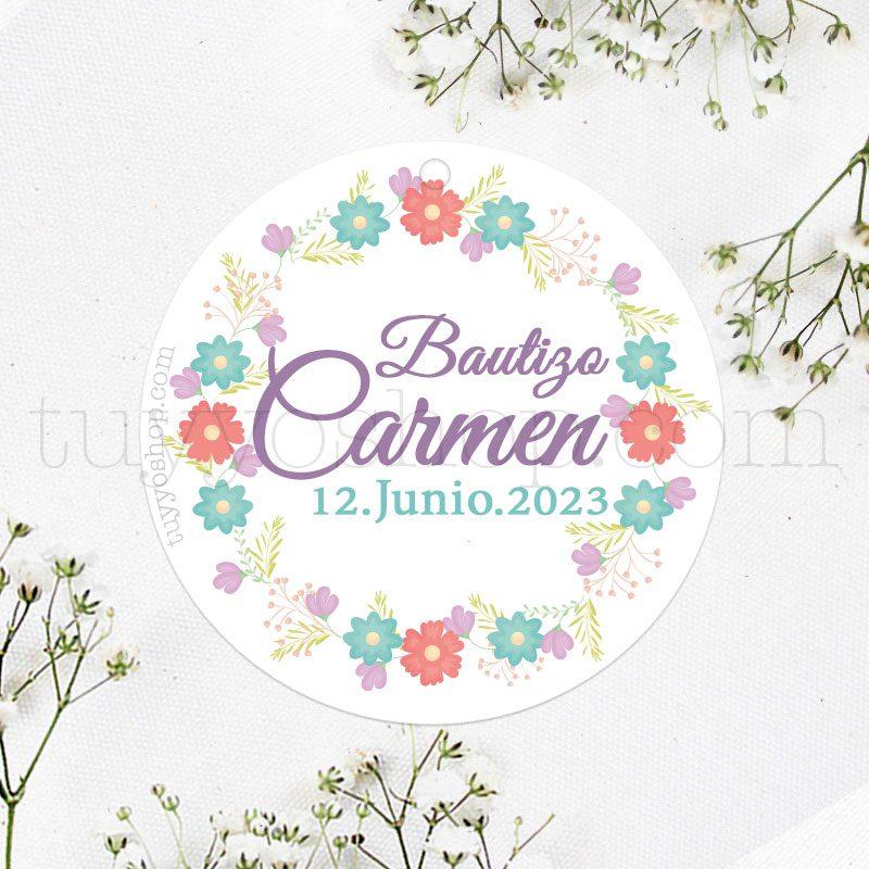 Etiqueta de bautizo Corona floral Malva