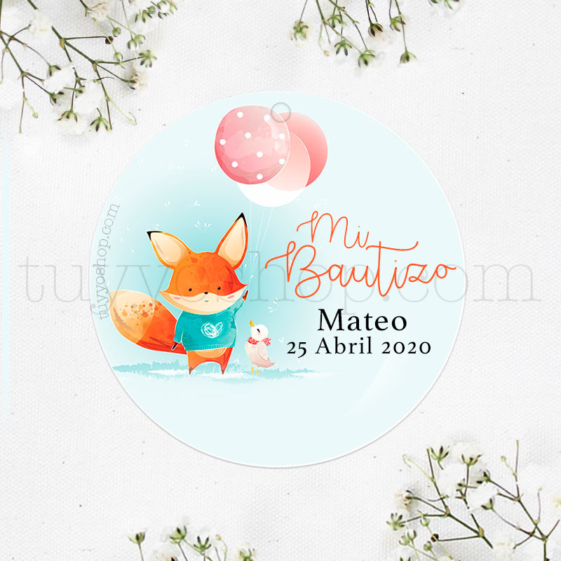 Etiquetas de bautizo. Modelo Little Fox. Personalizable.