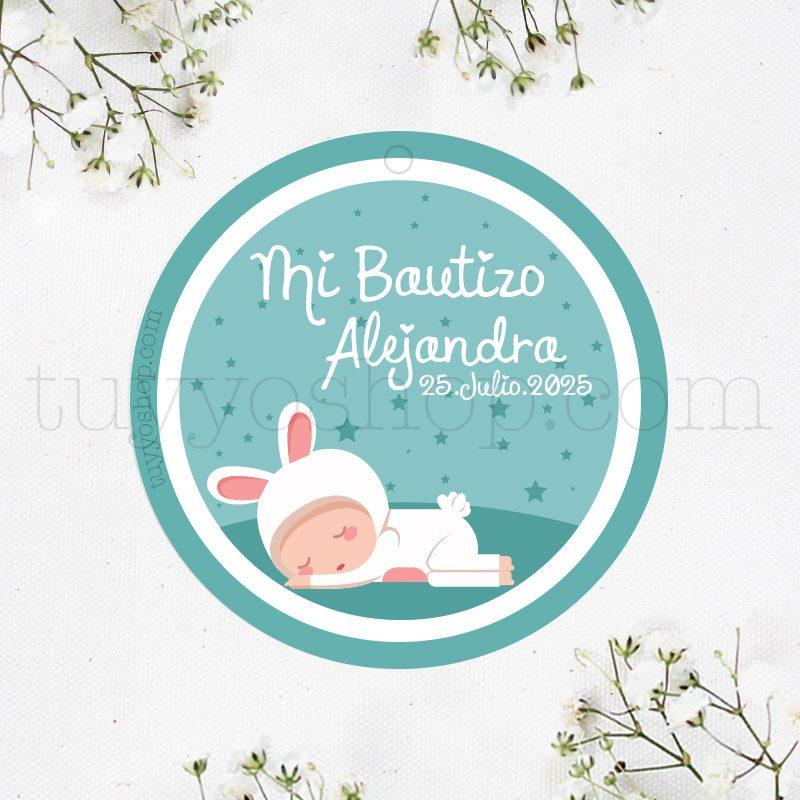 Etiqueta de bautizo, bebe conejito etiqueta de bautizo personalizada bebe