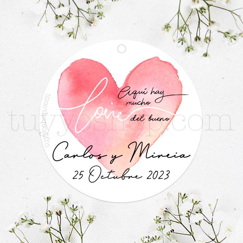 Etiqueta de boda Aquí hay mucho Love etiqueta de boda aqui hay mucho love