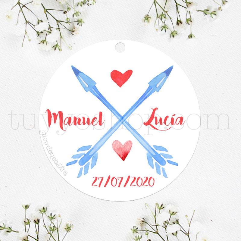 Etiqueta para regalos de boda, modelo blue arrows