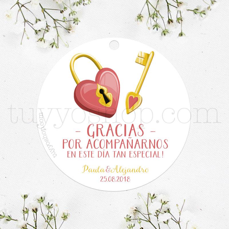 etiqueta para regalos de boda, modelo llave y candado