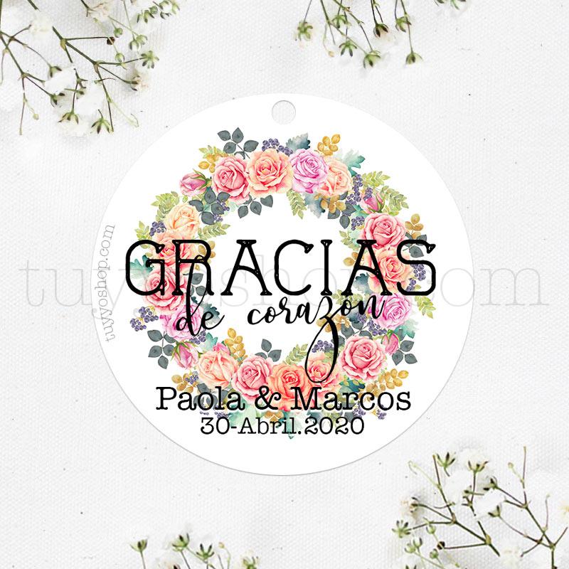 Etiqueta de boda diseño Córdoba. Personalizable.