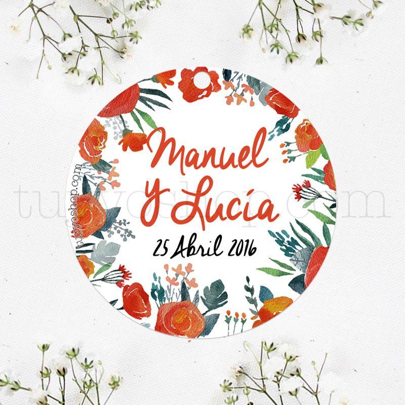 Etiqueta para boda diseño flores y acuarela.