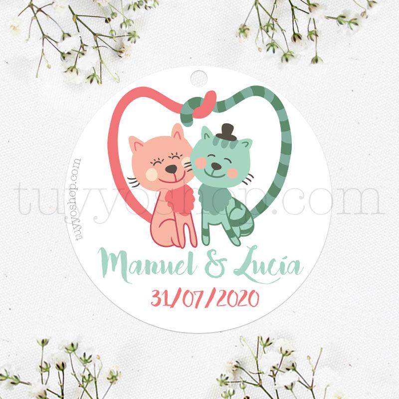 Bonita etiqueta para personalizar los detalles de tu boda. Diseño Love Cats.