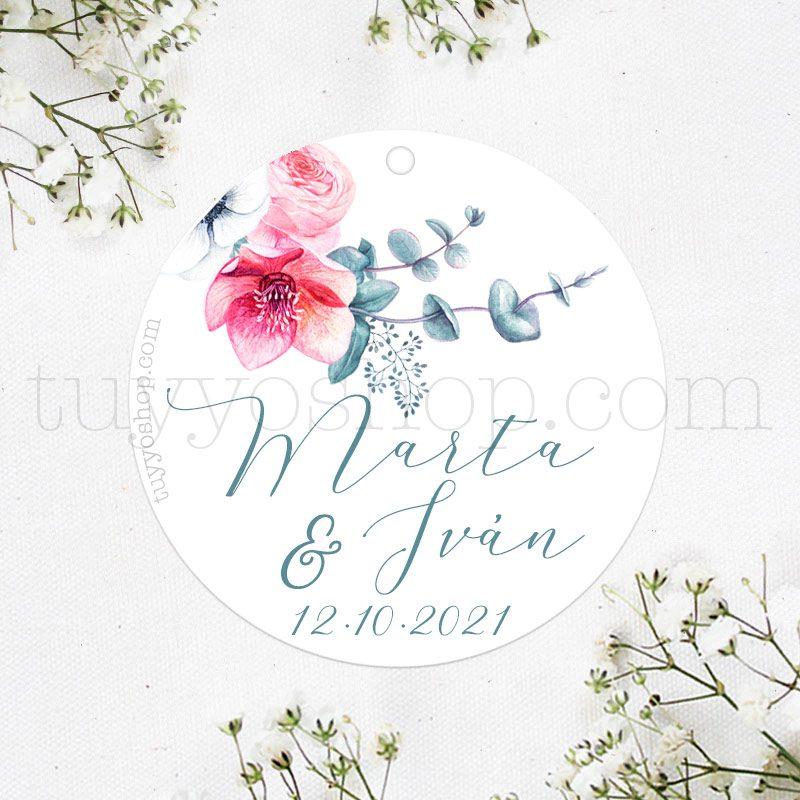 Etiqueta de boda modelo Anémona
