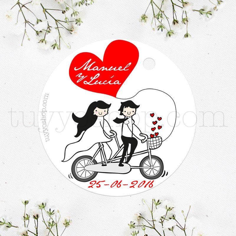Etiqueta para boda diseño couple boda