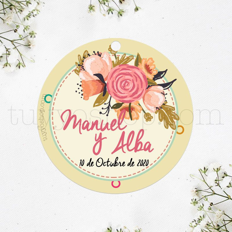 Bonita etiqueta para boda con diseño bouquet de flores