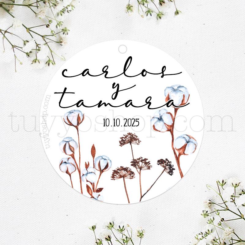 Etiqueta de boda modelo Flor de Algodón etiqueta de boda modelo flor de algodon