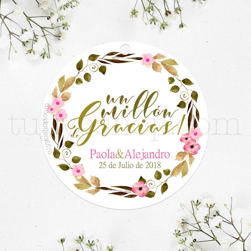 Bonita etiqueta de boda. Personaliza tus detalles con una preciosa etiqueta.