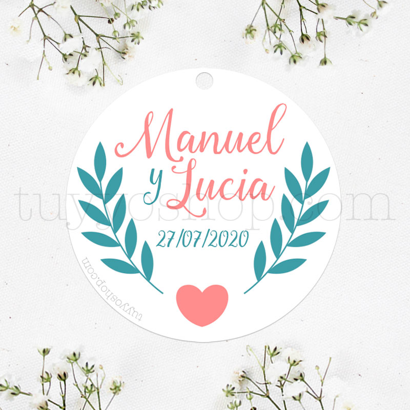 Bonita etiqueta para boda diseño ramita y corazón.