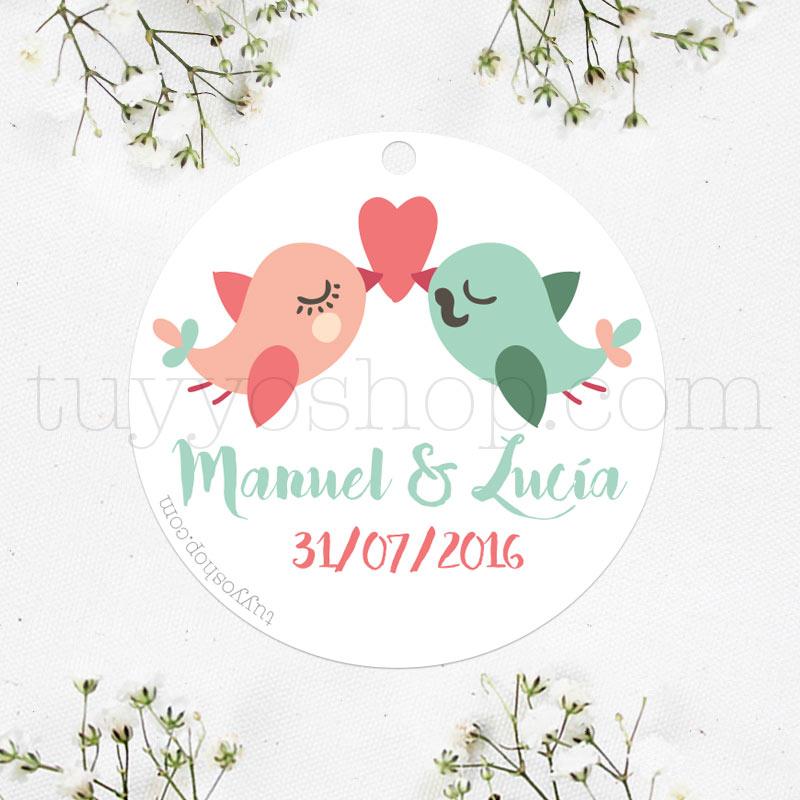 Etiqueta para boda diseño love birds